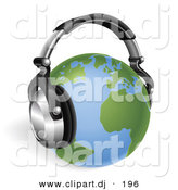 3d Vector Clipart of a Globe Wearing Wireless Headphones by AtStockIllustration