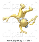 3d Vector Clipart of a Gold Guy Wearing Headphones While Dancing by 3poD