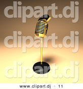 3d Vector Clipart of a Gold Microphone by Julos