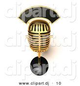 3d Vector Clipart of a Gold Painted Metal Retro Microphone by Julos