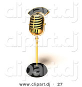 3d Vector Clipart of a Gold Retro Microphone by Julos