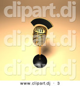 3d Vector Clipart of a Gold Retro Microphone on Golden Background by Julos