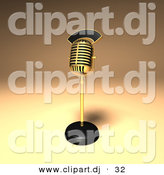 3d Vector Clipart of a Gold Retro Microphone on Stand by Julos