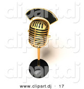 3d Vector Clipart of a Gold Retro Microphone - Top Angle by Julos