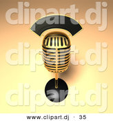 3d Vector Clipart of a Golden Retro Mic by Julos