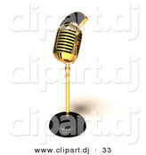 3d Vector Clipart of a Golden Retro Microphone by Julos