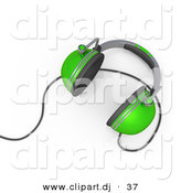 3d Vector Clipart of a Green Headphones with Wire by 3poD