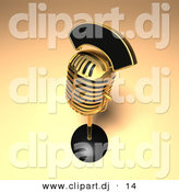 3d Vector Clipart of a Heavy Duty Golden Retro Microphone by Julos
