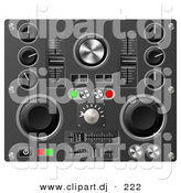 3d Vector Clipart of a Knobs, Switches, and Dials on a Soundboard by AtStockIllustration