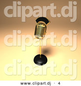 3d Vector Clipart of a Metal Gold Microphone by Julos