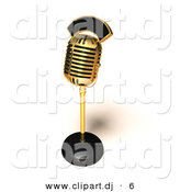 3d Vector Clipart of a Metal Golden Retro Microphone on Stand by Julos