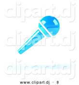 3d Vector Clipart of a Neon Blue Floating Microphone by Julos