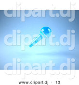 3d Vector Clipart of a Neon Blue Floating Microphone on a Handle - Angle View by Julos