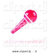 3d Vector Clipart of a Neon Pink Floating Microphone by Julos