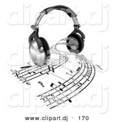 3d Vector Clipart of a Sheet Music Streaming from Headphone Speakers by AtStockIllustration