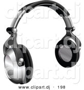 3d Vector Clipart of a Silver and Black Wireless Headphones by AtStockIllustration