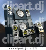 3d Vector Clipart of a Sound System Speaker Set by Frank Boston
