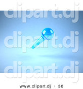3d Vector Clipart of a Wireless Blue Floating Microphone by Julos