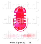 3d Vector Clipart of a Wireless Neon Pink Floating Microphone by Julos