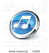 3D Vector Clipart of Blue Music Note Icon by Beboy