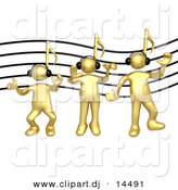 3d Vector Clipart of Gold Guys with Music Note Heads, Wearing Headphones by 3poD