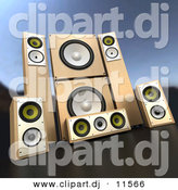3d Vector Clipart of Wooden Speakers - Complete Surround Sound System by Frank Boston