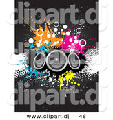 Cartoon Clipart of a 3 Big Speakers over Grunge Splatters on a Black Background by KJ Pargeter
