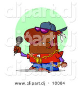Cartoon Clipart of a African American Male Rapper Wearing Shades and Performing on Stage at a Music Concert by Hit Toon