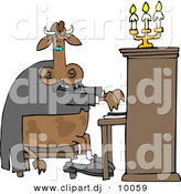 Cartoon Clipart of a Cartoon Cow Playing a Piano by Dennis Cox