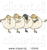 Cartoon Clipart of a Cartoon Dancing Sheep Chorus by Djart