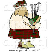 Cartoon Clipart of a Cartoon Scottish Sheep Playing a Bagpipe by Djart