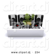Cartoon Clipart of a DJ Turtle Mixing Music Records and Waving with His Hand in the Air by KJ Pargeter