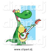 Cartoon Clipart of a Happy Dinosaur Rocking out and Playing His Guitar in His Music Band by Hit Toon