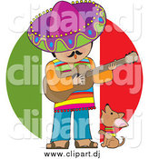 Cartoon Clipart of a Male Mexican Musician Singing and Playing a Guitar with a Chihuahua by Maria Bell