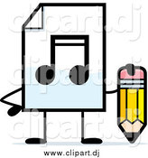 July 8th, 2015: Cartoon Clipart of a MP3 Music Document Character Holding a Pencil by Cory Thoman