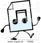 September 20th, 2015: Cartoon Clipart of a MP3 Music Document Character Walking by Cory Thoman