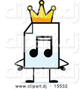 December 10th, 2015: Cartoon Clipart of a MP3 Music Document Mascot King with Hands on His Hips by Cory Thoman