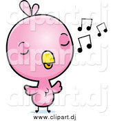 Cartoon Vector Clipart of a Baby Pink Chick Whistling a Tune by Cory Thoman
