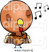 September 8th, 2014: Cartoon Vector Clipart of a Baby Turkey Bird Whistling by Cory Thoman