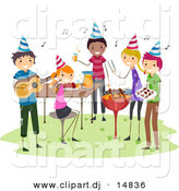 Cartoon Vector Clipart of a BBQ Birthday Party with Happy People Playing Music with Food by BNP Design Studio