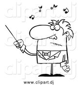 Cartoon Vector Clipart of a Black and White Senior Conductor Waving a Baton by Hit Toon