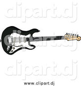 Cartoon Vector Clipart of a Black Electric Fender Stratocaster Guitar by LaffToon