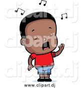 Cartoon Vector Clipart of a Black Toddler Boy Singing by Cory Thoman