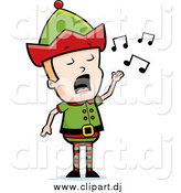 Cartoon Vector Clipart of a Blond Male Christmas Elf Singing by Cory Thoman