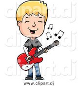Cartoon Vector Clipart of a Blond Teenage Boy Playing a Guitar by Cory Thoman