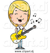 Cartoon Vector Clipart of a Blond Teenage Girl Playing a Guitar by Cory Thoman