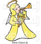 Cartoon Vector Clipart of a Blond White Angel in Yellow Playing a Horn and Holding a Lyre by LaffToon