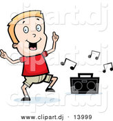 August 19th, 2015: Cartoon Vector Clipart of a Blond White Boy Dancing to Music by Cory Thoman