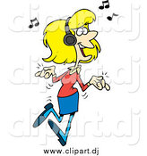 August 7th, 2014: Cartoon Vector Clipart of a Blond White Woman Dancing and Listening to Music by Toonaday