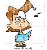 May 1st, 2015: Cartoon Vector Clipart of a Brunette White Chorus Girl Singing by Toonaday